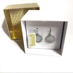 Michael Kors Silver Logo Round Drop Earrings NWT T